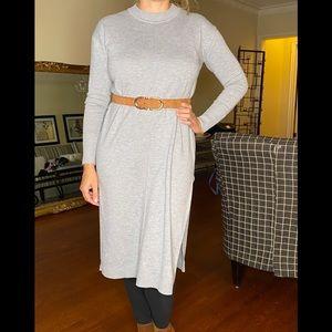 H&M grey sweater midi dress